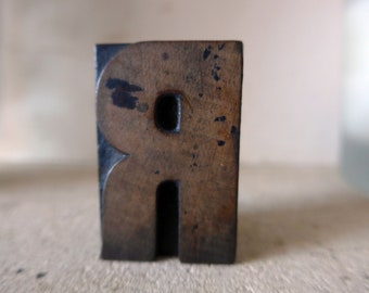 """H and R Doubled Sided Wooden Letterpress Printing Block, 50mm / 2"""" Tall"""