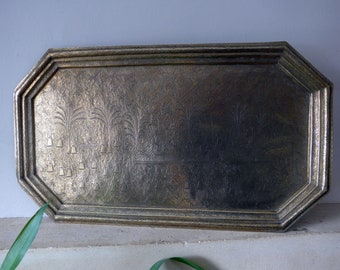 Large Eastern Asian Vintage Rectangular Brass Tray, Engraved 64cmx37cm