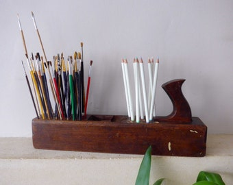 """Artists Paintbrush & Pencil Holder, 13 Holes for Pencils, 40 for Paintbrushes Repurposed 22"""" Vintage Woodworking Block Plane Artists Gift"""