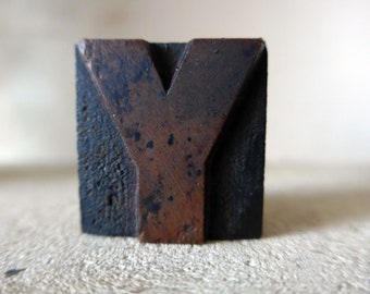 "Y Wooden Letterpress Printing Block, 33mm / 1 5/16"" Tall"