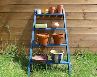 Ladder Plant Stand, 4 Shelf, Tiered Plant Pot Stand, Repurposed from Vintage Ladder