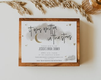 Celestial Invitation Set, Bridal Shower, Wedding Shower, Baby Shower, It Was Written in the Stars, Editable Template, 5x7 | CASSIOPEIA