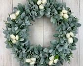 Year Round Front Door Wreath, Farmhouse Rustic Wreath, Eucalyptus, All Year Wreath, Wedding, Bridal, Year Round Wreath, Lamb s Ear Wreath
