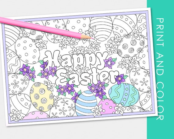 Easter Egg Coloring Card  BONUS full size Kids Coloring Page