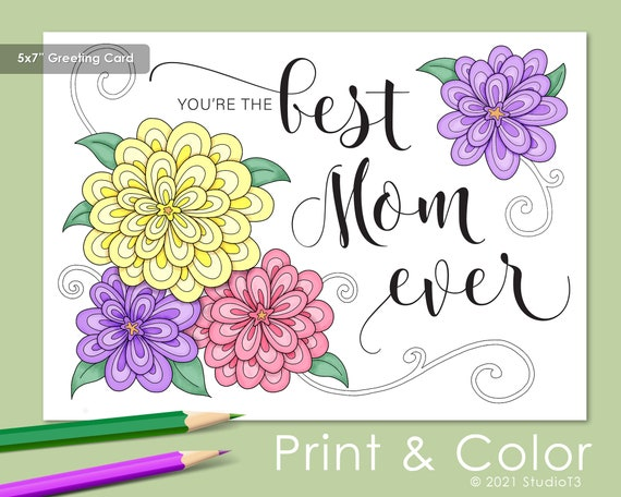 Best Mom Ever   Mother's Day Card to Color  BONUS full