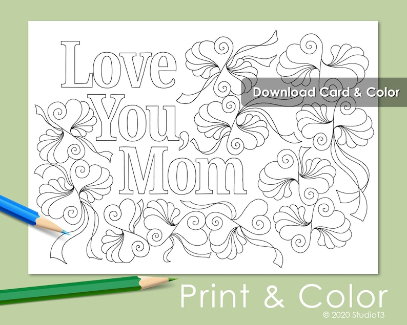 BONUS full size Kid\u2019s Coloring Page  Adult coloring pages   Envelope template included Mother/'s Day Card to Color