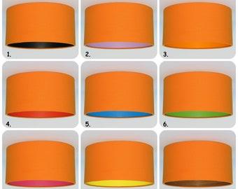 Handmade Orange Lampshade, black, wood,purple,red,blue,green,pink,yellow,orange,Pendant,Hanging,Ceiling,drum,lightshade,matt lining,interior