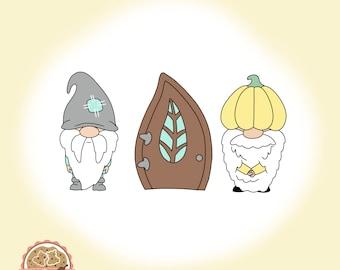 Gnome with Door Set - Cookie Cutter - Fondant Cutter - Clay Cutter - Dough Cutter - Fall - Autum - Thanksgiving