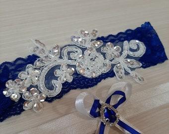 blue garter tossing garter Bridal garter Couture blue white garter lace bridal gift Princess charm prom garter Wedding garter