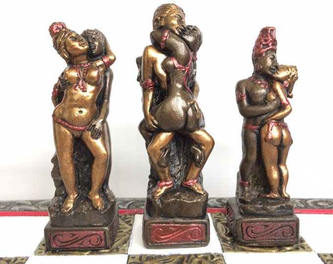 Beautiful Hand Made Erotic Chess Set in Bronze and Silver Antique Effect (Deluxe Edition) (Chess pieces only)