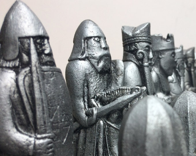 Traditional Isle of Lewis Chess set - Lewis Chessmen - Handmade Heritage Chess pieces in an Antique Metallic Effect V2 (Chess pieces only)