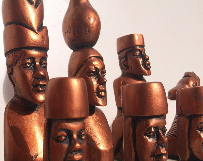 African Chess Set - Stunning Tribal Replica Chess Set - 1940's Chess Set (Chess pieces only)