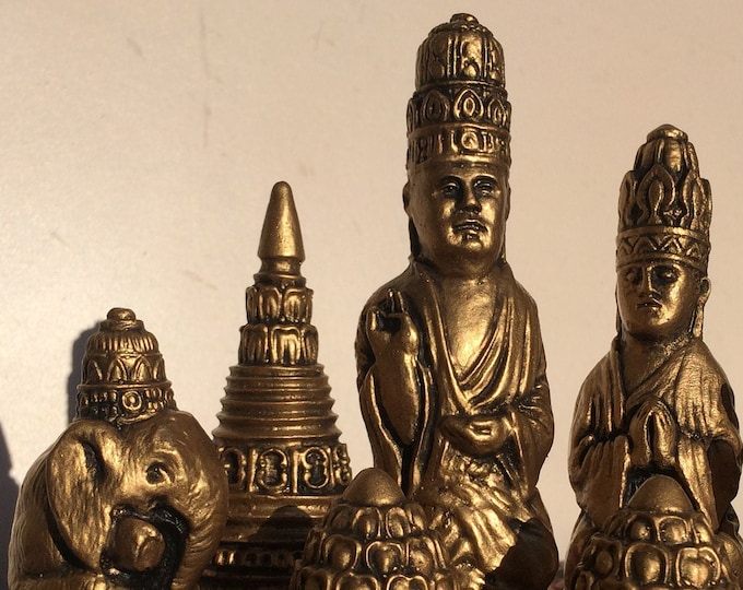 Burmese Chess Set - Antique Soft Gold and Warm Copper Effect - Sri Lanka  19th Century Style (Chess Pieces Only)