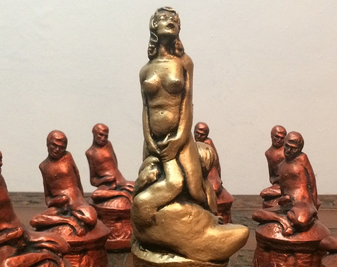 Erotic Themed Chess Set (ready to ship) - Antique  Copper & Gold aged Effect - Beautiful Vintage Design (Chess Pieces Only)