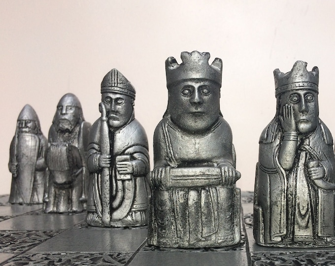 Traditional Handmade Lewis Chess set in Antique Gold & Silver Effect (V2)  (Chess pieces only)