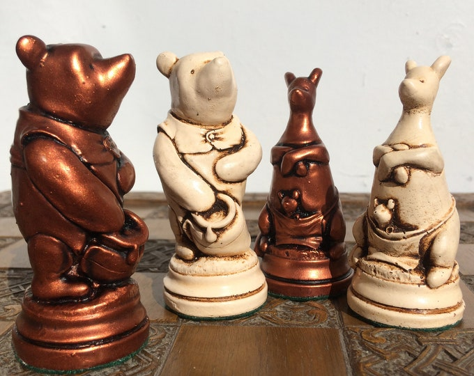 Winnie The Pooh Chess Set - Handmade Themed Chess Set in Antique White and Soft Copper aged Effect (Chess Pieces Only)