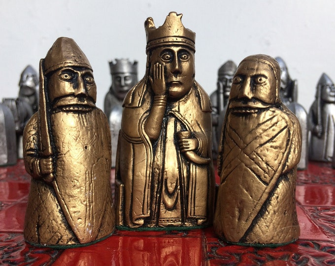 Beautiful Lewis Chess set - Lewis Chessmen Authentic Replica - Antique Effect (Chess pieces Only)V2