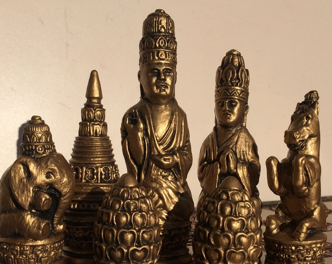 Sri Lanka Brumese Sittuyin 19th Century Style Chess Set With Antique Soft Gold and Warm Copper Effect (Chess Pieces Only)