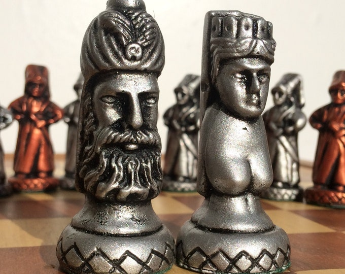 Ottoman Empire Chess Set - Suleiman The Magnificent - Hand Crafted Metallic Effect Chess Set (Chess Pieces Only)