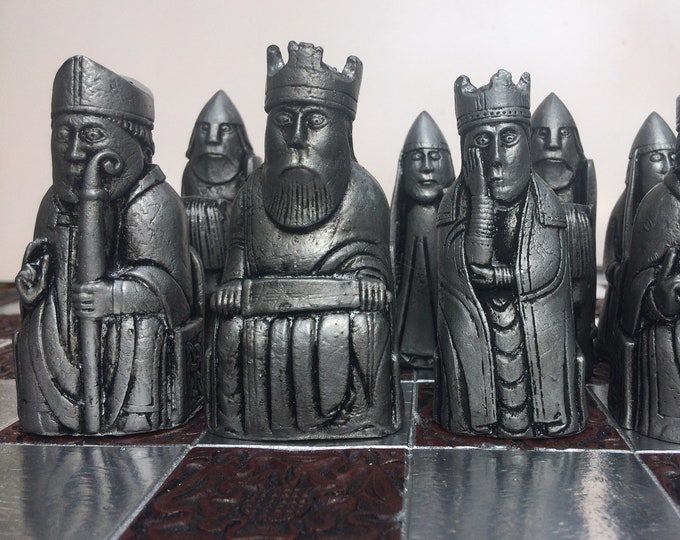 Traditional  Lewis Chess set. Old Chess Antique Bronze & Pewter Effect (V1)  (Chess pieces only)