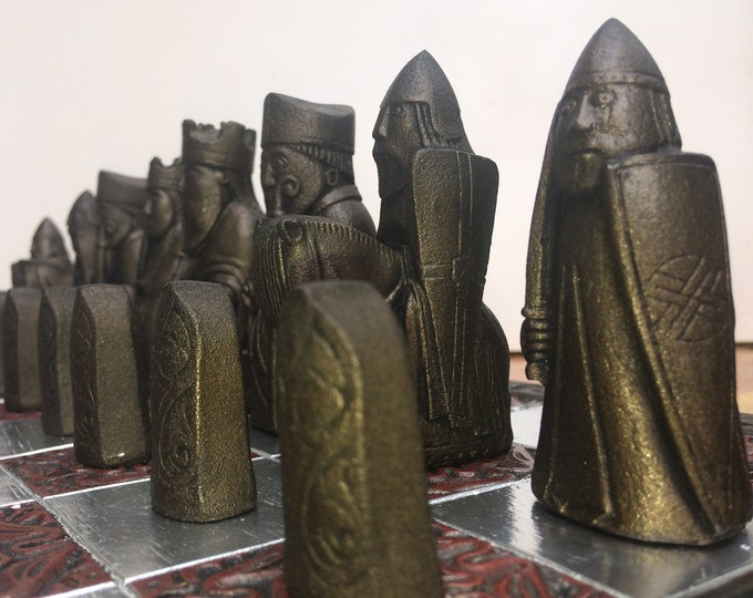 Traditional  Lewis Chessmen - Lewis Chess set - Old Chess Set - Antique Bronze & Pewter Effect - Unique Chess Gift (V1)  (Chess pieces only)