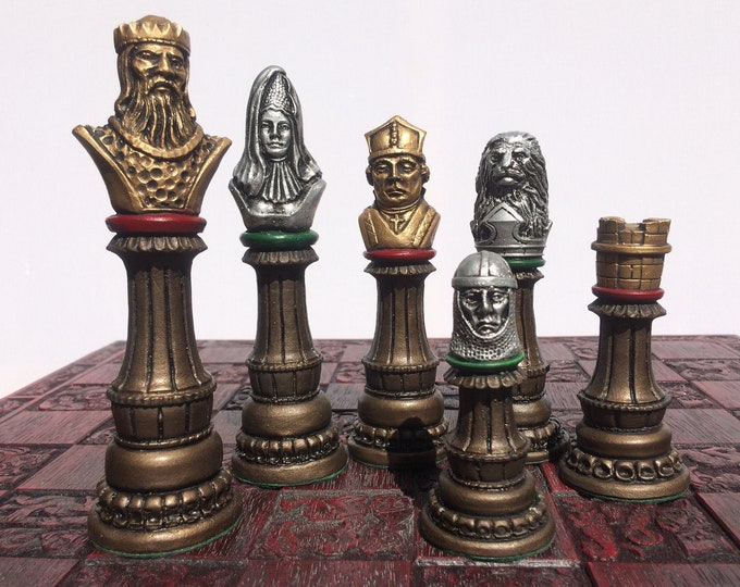 Richard the Lion Heart Chess Set - Antique Metallic Bronze, Silver & Gold Effect (Chess Pieces Only)