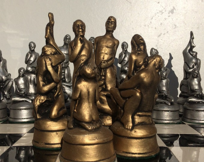 Erotic Chess set - 1960's Replica Fantasy Chess set - Gold and Silver Metallic Antique Effect (Chess Pieces Only)