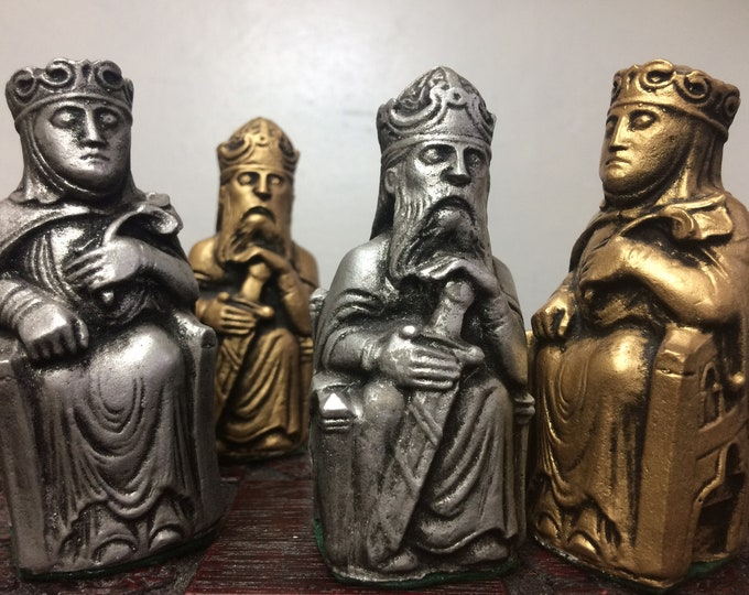 Medieval Gothic Chess Set - Isle of Lewis Style Chess Set - Metallic Antique Effect (Chess pieces Only)