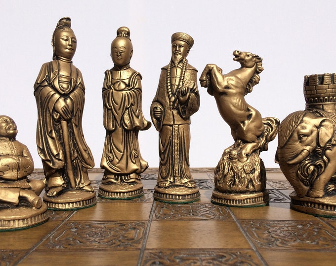 Beautiful Oriental Chess Set - Antique White & Soft Gold Effect (Chess Pieces Only)