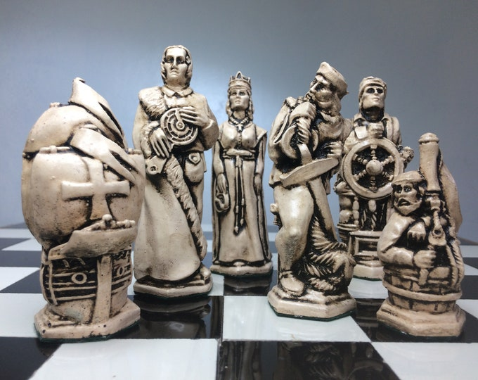 Christopher Columbus Chess Set - Antique White and Aged Copper Metallic Effect. (Chess pieces Only)