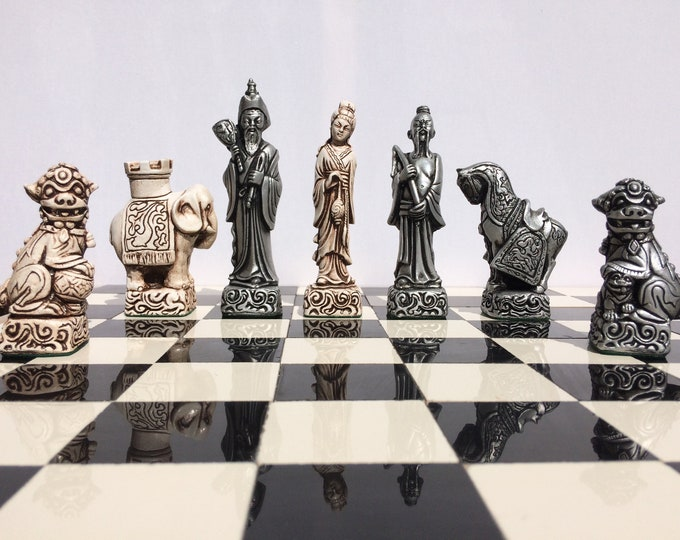 Highly Detailed Oriental themed chess set - Antique White & Aged Silver Effect (Chess Pieces only)