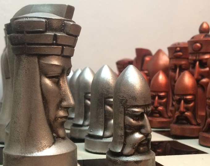Gothic Chess Set designed by Peter Ganine - Antique Effect - Featured in the Original Series of Star Trek. Chess Pieces Only