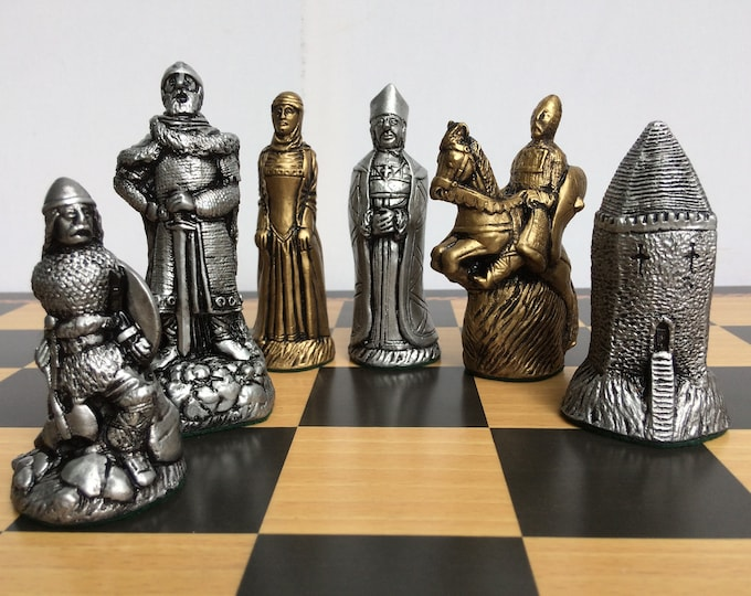 Medieval Chess Set - The Norman Army Chess Pieces - Gold and Silver Metallic Effect - Chess Pieces Only