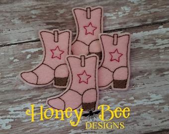 Cowboy Boot Felties, Cowgirl Boot Felties, Pink Cowboy Boot Felties, Pink Cowgirl Boot Felties