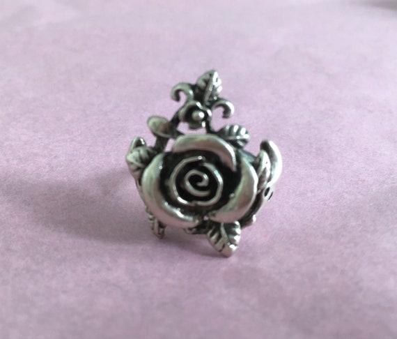 Silver Rose Ring Vintage Silver Ring - Rose Shape… - image 5