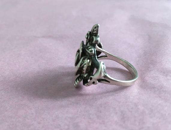 Silver Rose Ring Vintage Silver Ring - Rose Shape… - image 6