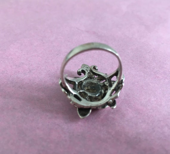 Silver Rose Ring Vintage Silver Ring - Rose Shape… - image 8