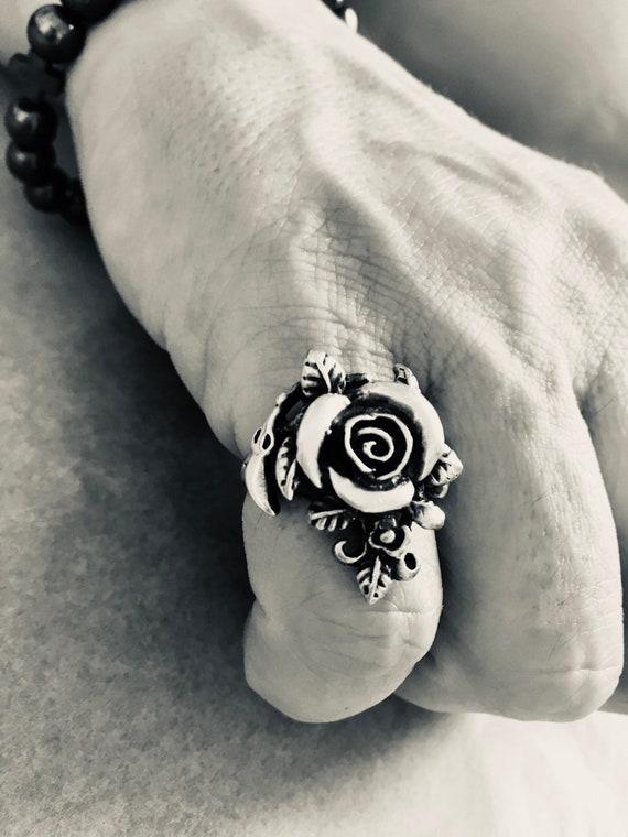 Silver Rose Ring Vintage Silver Ring - Rose Shape