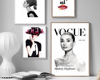 A1 Poster Vintage  Print Art Photo Fashion model  canvas  Face black white