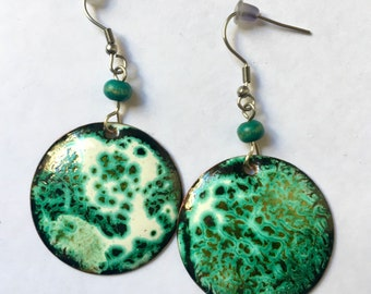 Handmade Gypsy Bright Shiny Earrings Planetary Wiew Art Enamel Gift Idea For Her Abstract Lichen Stone Texture Cosmic Jewelry