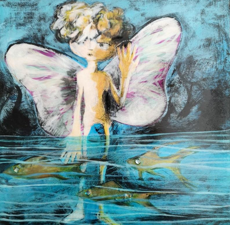 Original Art Mixed Media Collage Fredrick the Water image 0