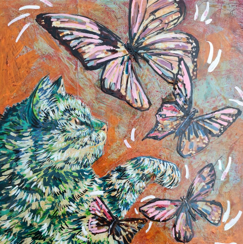 Original Art Mixed Media Collage Butterfly Brush image 0