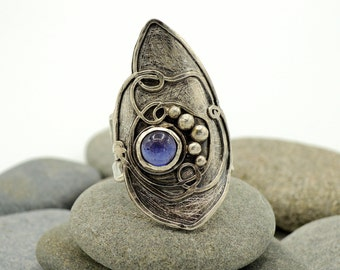 Rustic silver ring with stones Emerald  Amethyst and Peridot ring handmade in Italy boho rustic silver ring US 7.