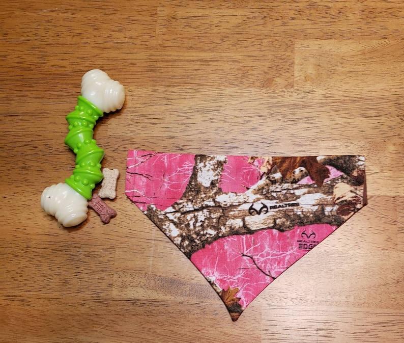 hunting Over the Collar Reversible Dog Bandana pink camo Extra Small dog bandana camo Dog Bandana realtree edge