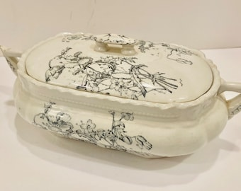 Antique Transferware Covered Dish Ironstone Tureen Black/Gray Floral Design Circa early 1900's