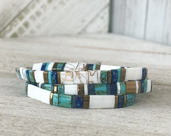 SHORES OF MAINE Tila bracelets for women || Mack & Rex || Boho bracelet || Bead bracelet || Miyuki bracelet for teens || Tile bracelets