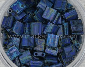 4518 - Denim Picasso    Miyuki Tila Beads   Whole Tila, Half Tila   Beads for Bracelet Making   Seed Beads