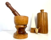 Large Vintage Wooden Motor and Pestle Rustic Wood Mortar and Pestle