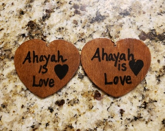 Heart shaped wood crafted earrings with a custom touch