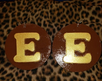 Chocolate Brown w/ gold initial earrings